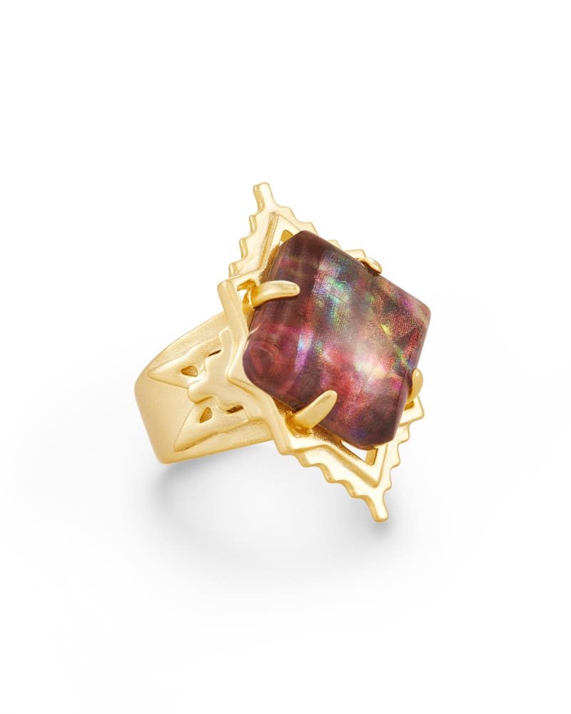 Cass Gold Cocktail Ring in Mauve Abalone