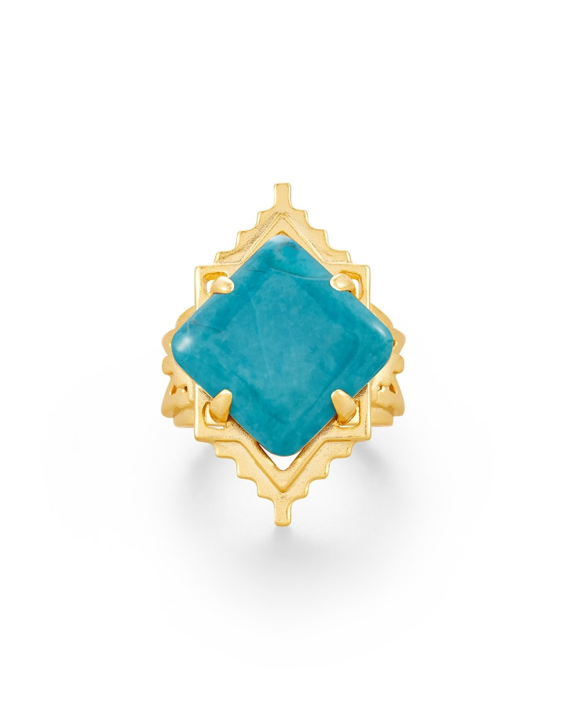 Cass Gold Cocktail Ring in Teal Howlite