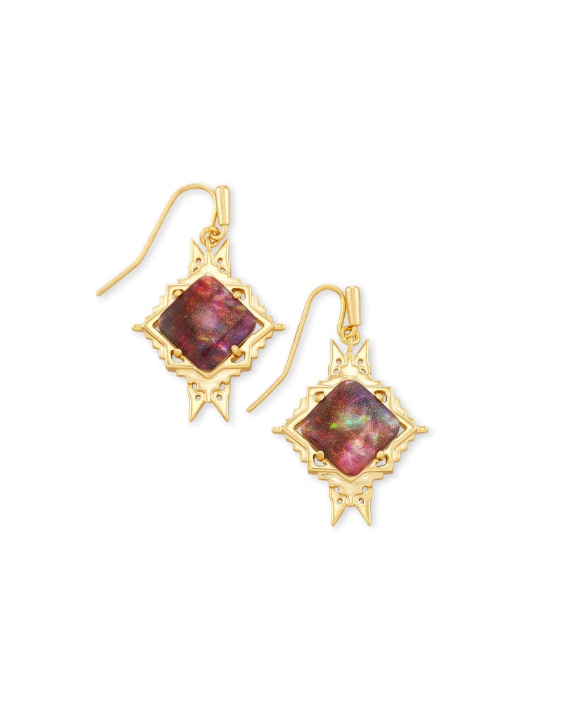 Cass Gold Drop Earrings in Mauve Abalone