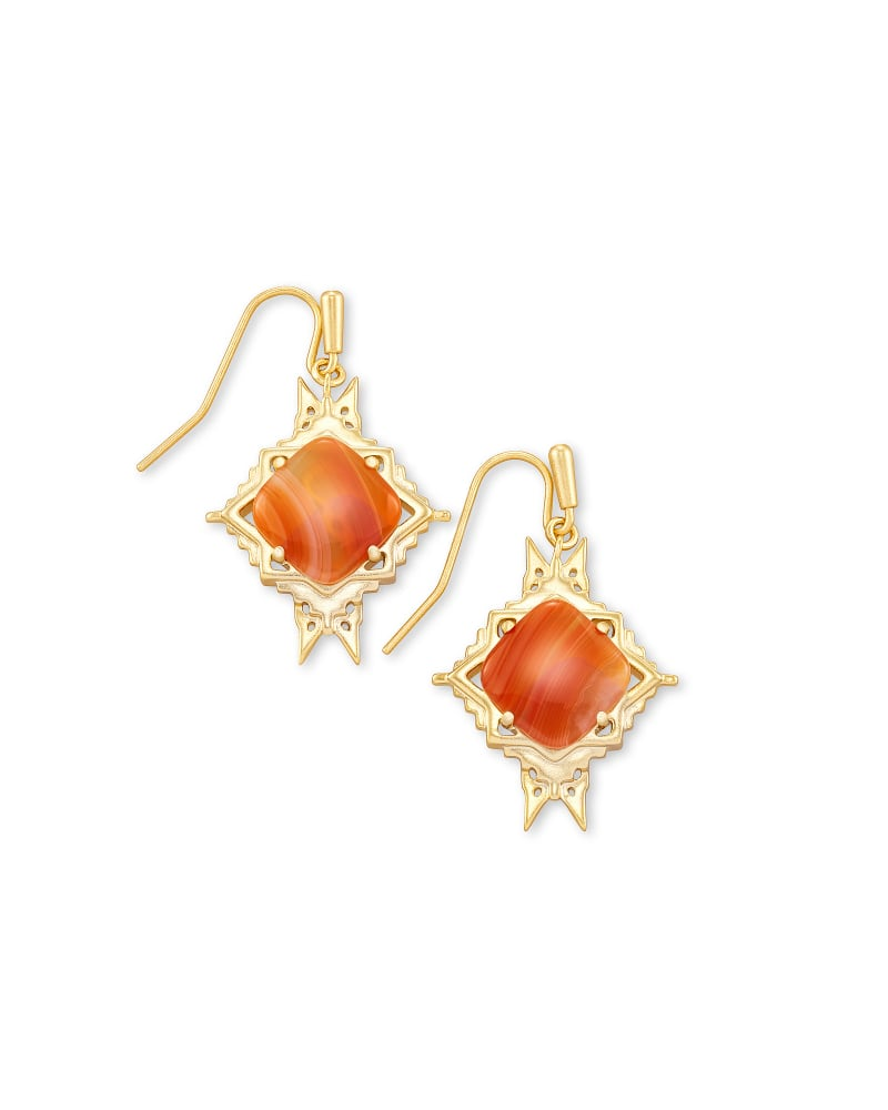 Cass Gold Drop Earrings in Orange Banded Agate