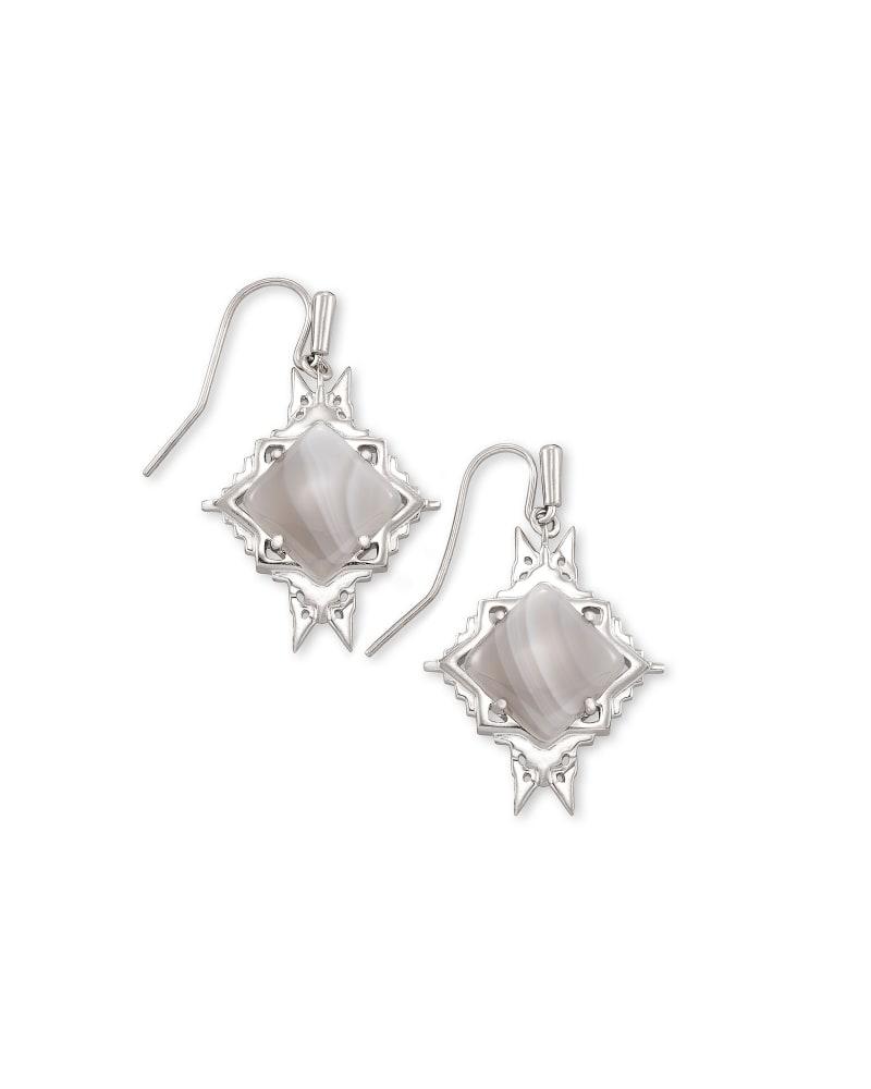 Cass Silver Drop Earrings in Gray Banded Agate