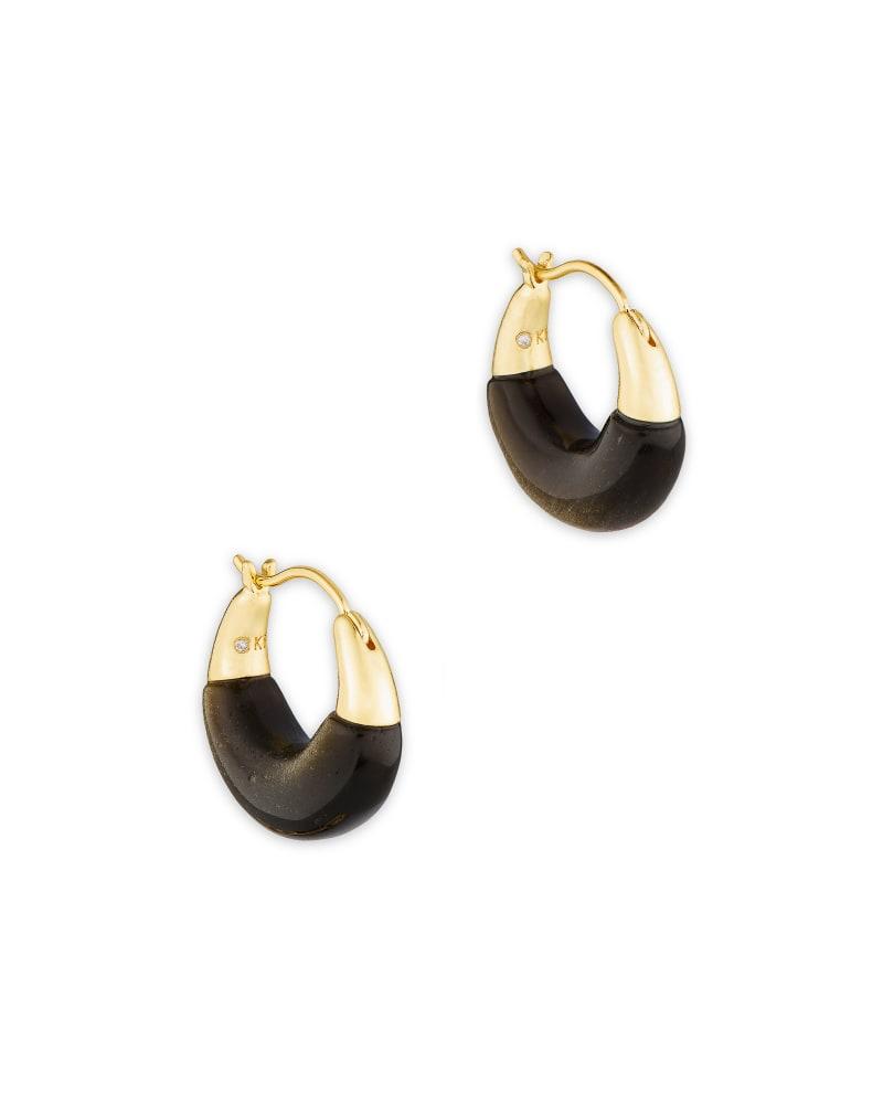 Cass Gold Huggie Earrings in Golden Obsidian