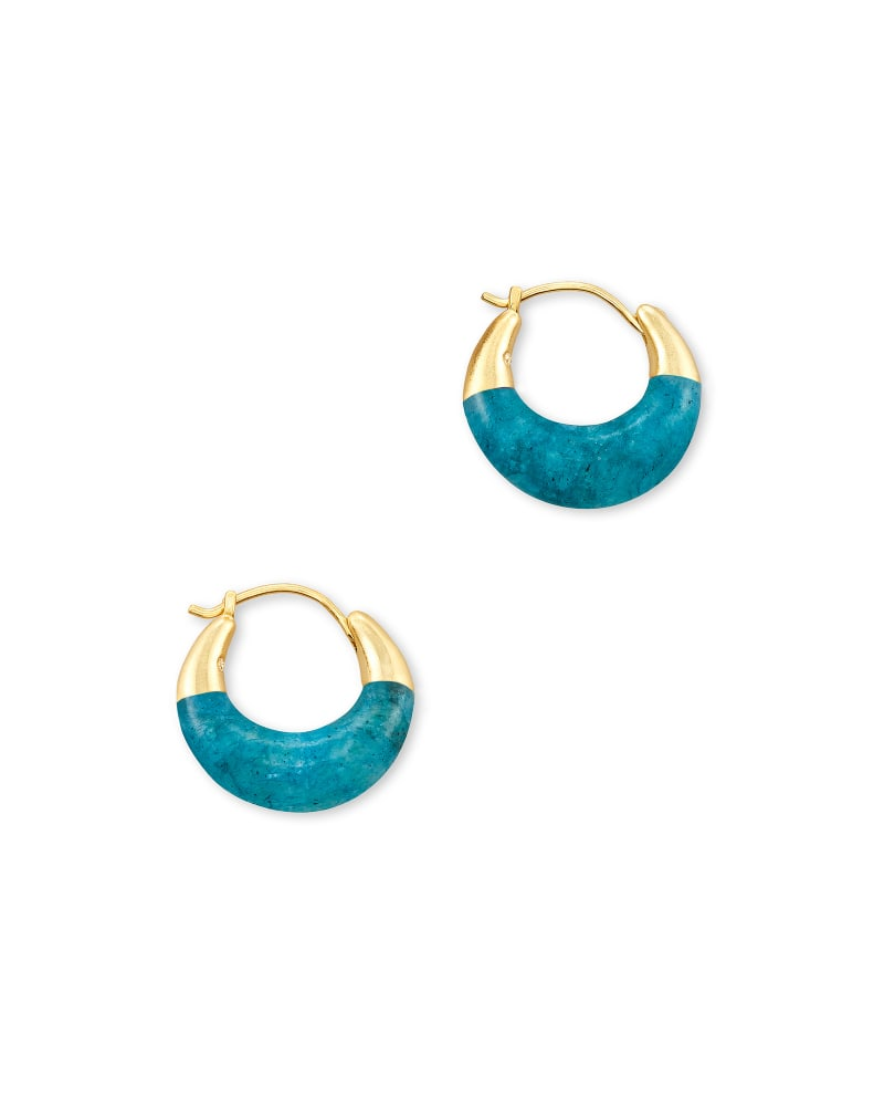 Cass Gold Huggie Earrings in Teal Labradorite