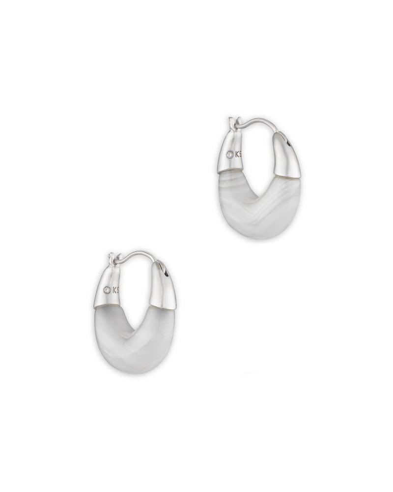 Cass Silver Huggie Earrings in Gray Banded Agate