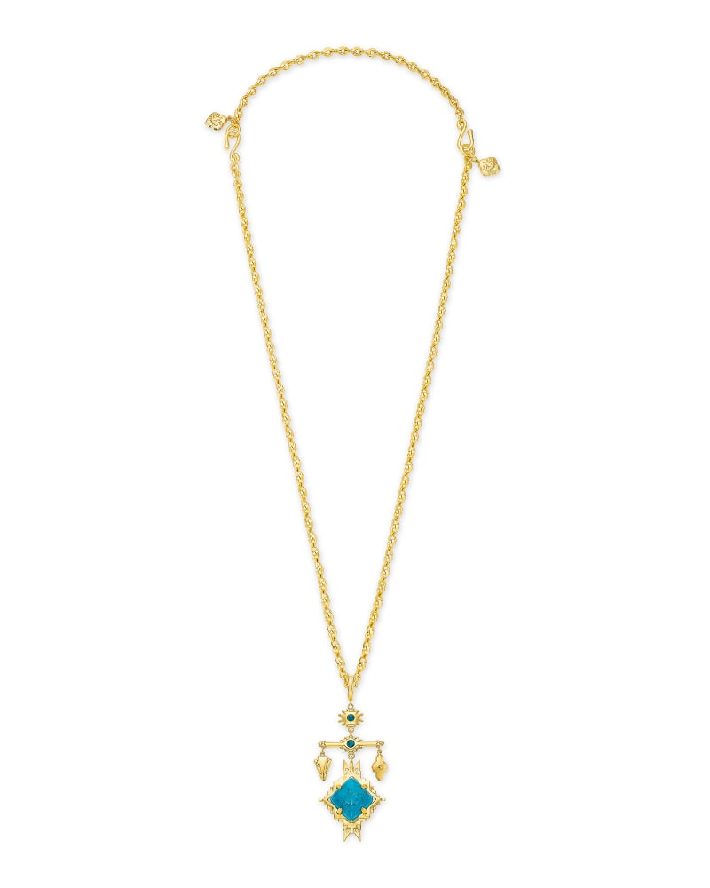 Cass Gold Large Long Pendant Necklace in Teal Howlite