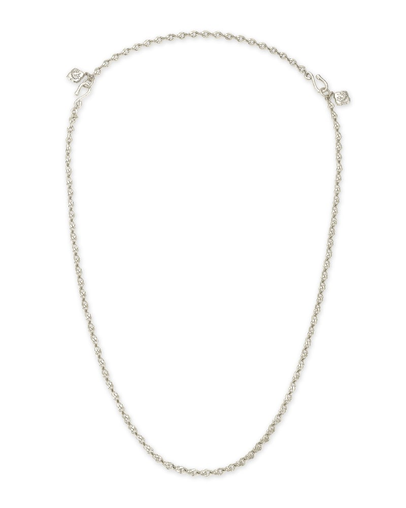 Cass Silver Large Long Pendant Necklace in Gray Banded Agate