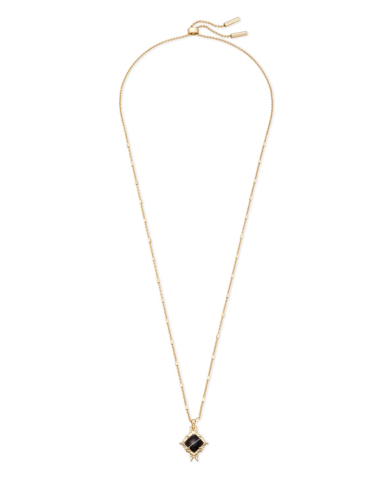Cass Gold Long Pendant Necklace in Black Banded Agate