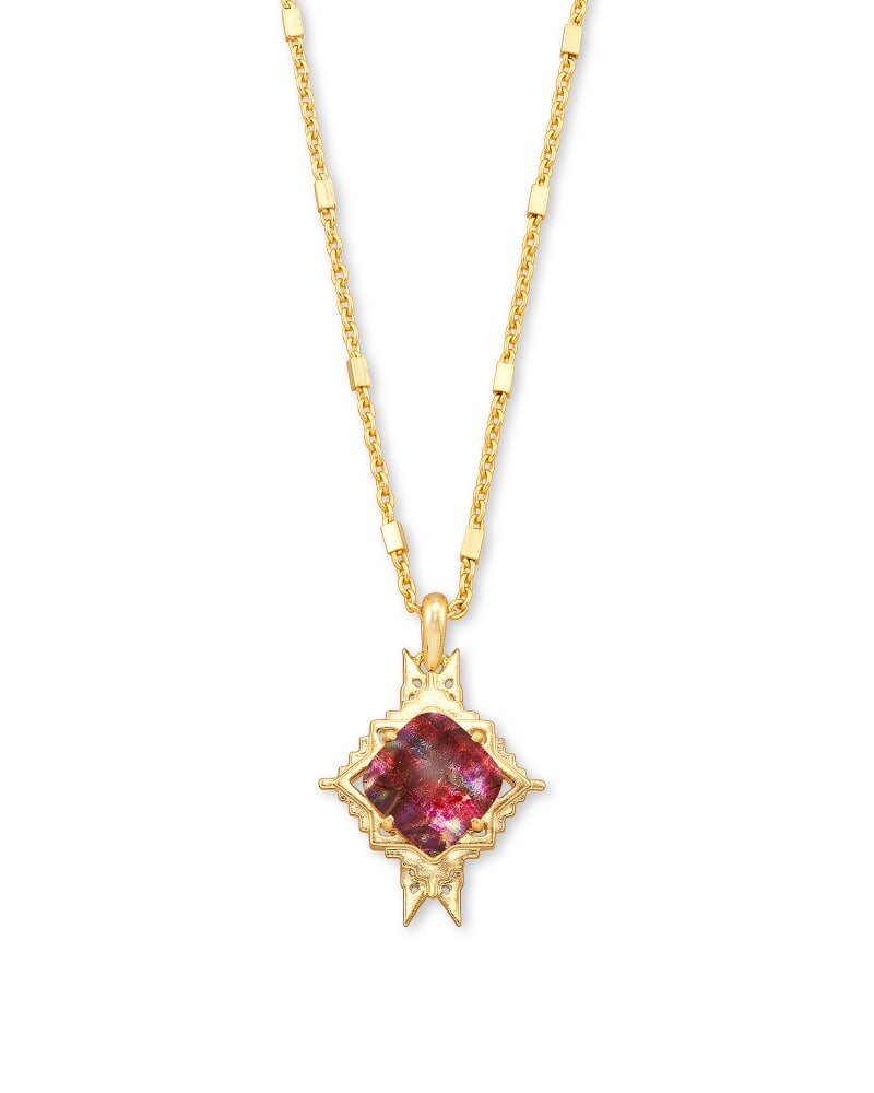 Cass Gold Long Pendant Necklace in Mauve Abalone
