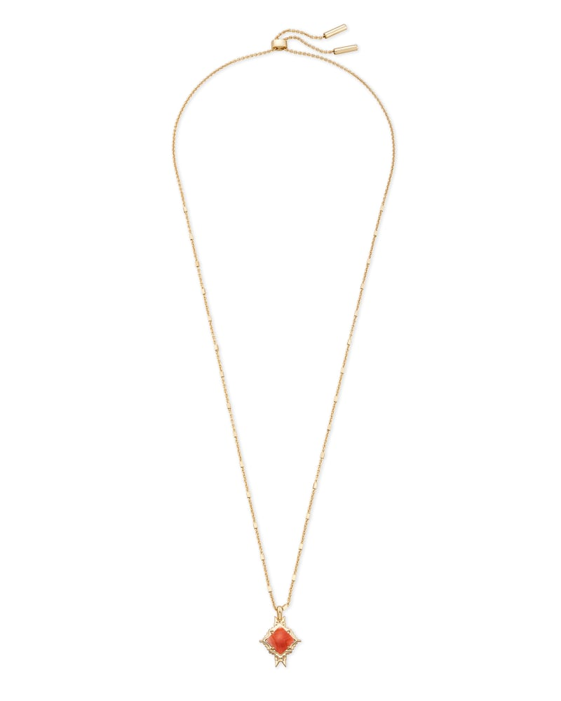 Cass Gold Long Pendant Necklace in Orange Banded Agate