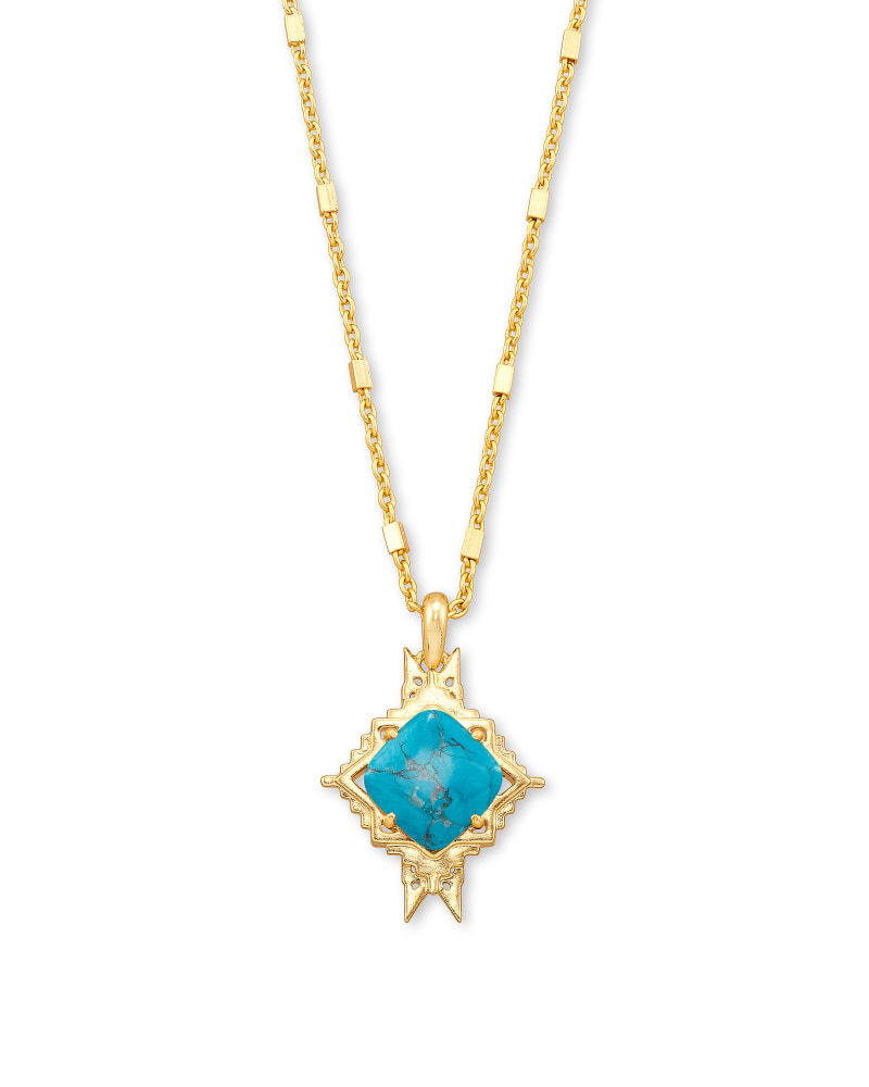 Cass Gold Long Pendant Necklace in Teal Howlite