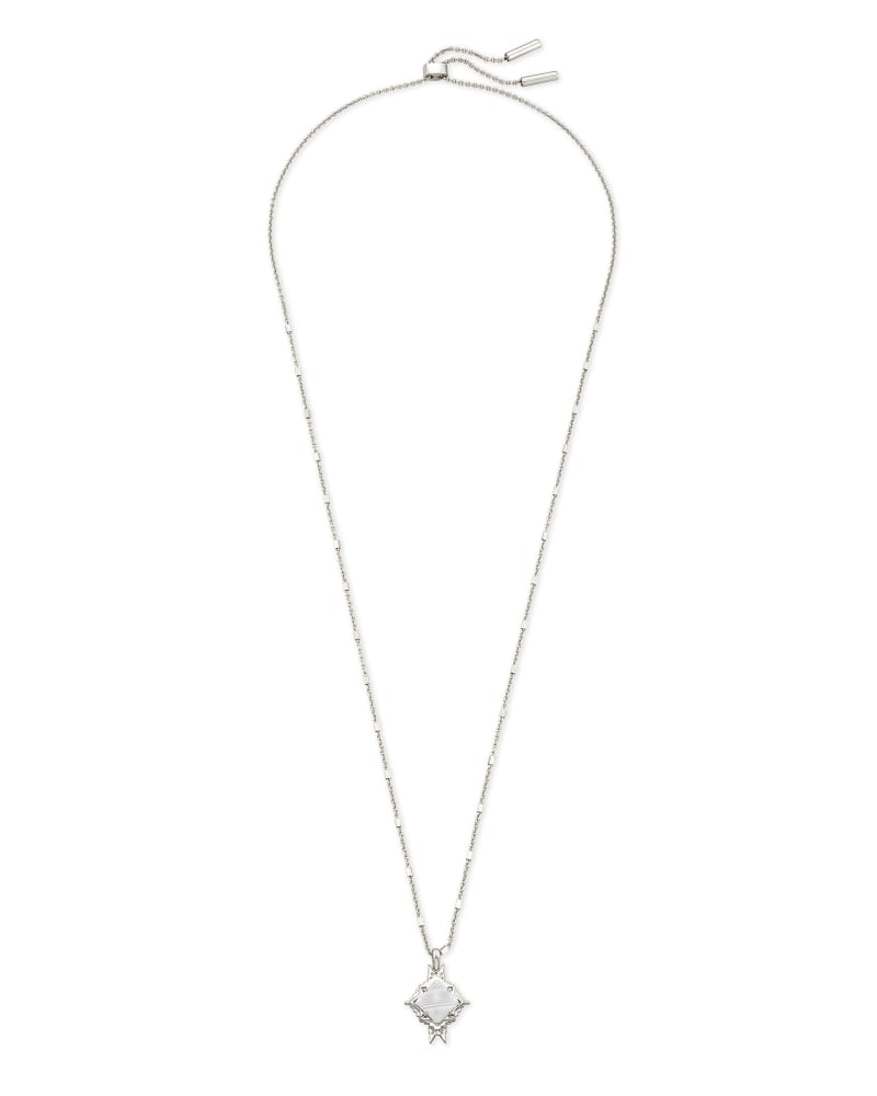 Cass Silver Long Pendant Necklace in Gray Banded Agate
