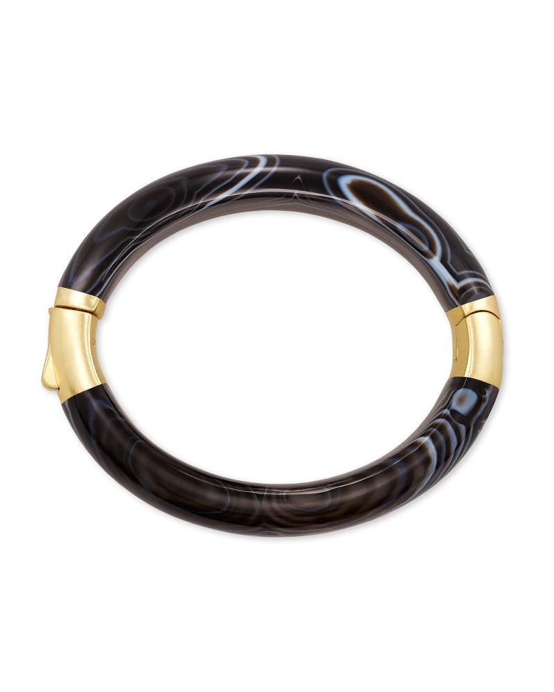 Cass Gold Statement Bangle Bracelet in Black Banded Agate