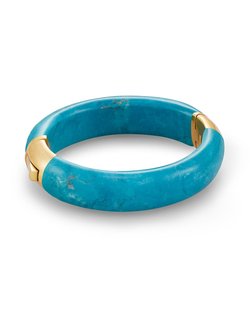 Cass Gold Statement Bangle Bracelet in Teal Howlite