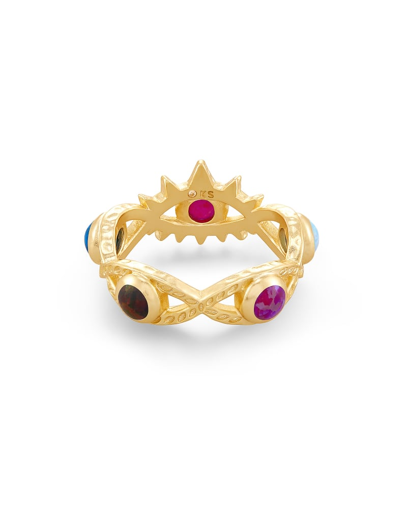 Gemma Gold Band Ring in Multi Mix Kyocera Opal