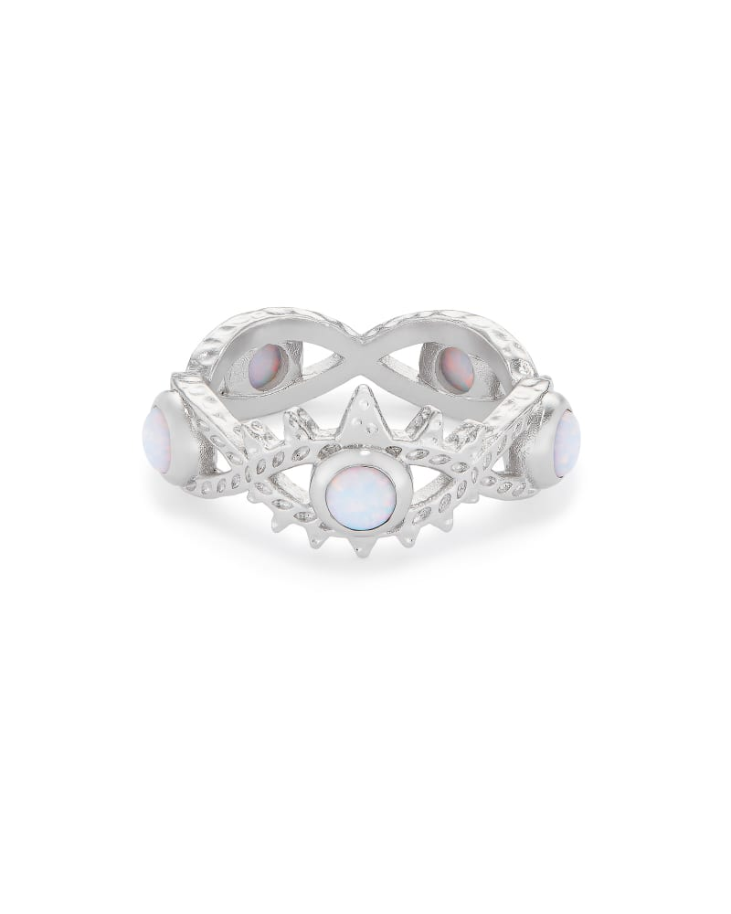 Gemma Silver Band Ring in White Kyocera Opal