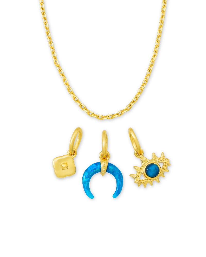 Gemma Gold Charm Necklace Set in Teal Mix