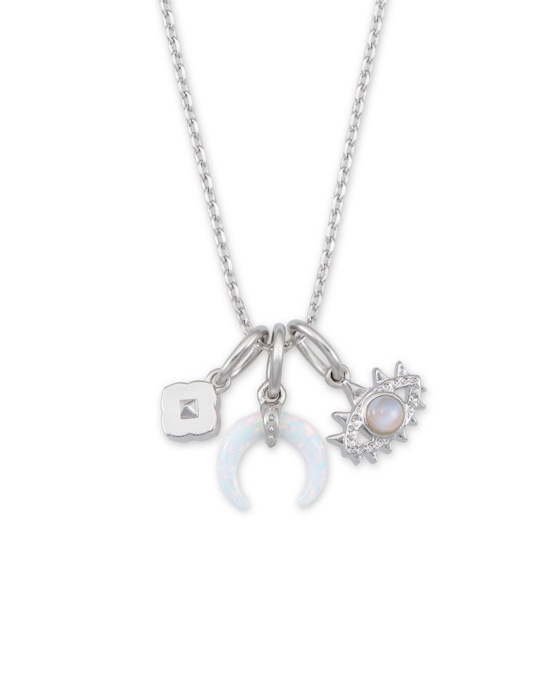 Gemma Silver Charm Necklace Set in Neutral