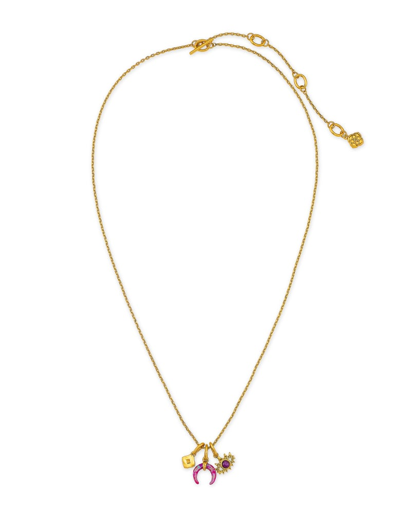 Gemma Vintage Gold Charm Necklace Set in Plum Mix