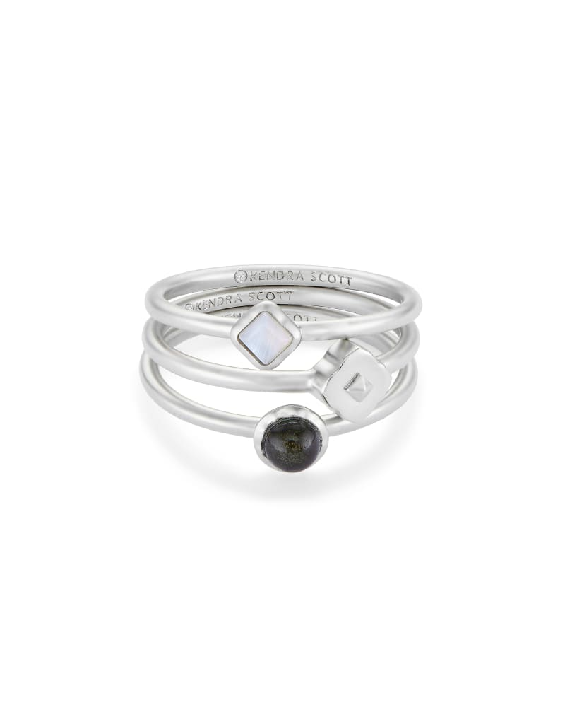 Gemma Silver Ring Set of 3 in Neutral Mix
