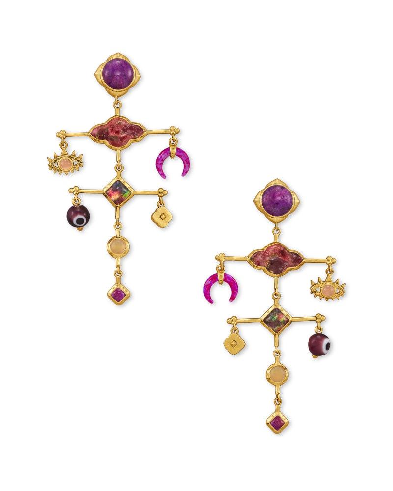 Gemma Vintage Gold Statement Earrings in Plum Mix