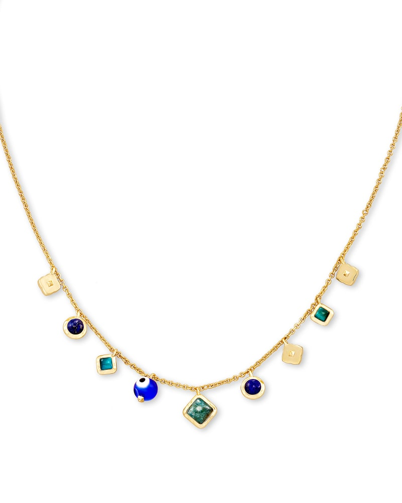 Gemma Gold Strand Necklace in Teal Mix