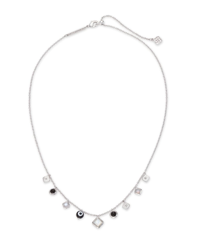 Gemma Silver Strand Necklace in Neutral Mix