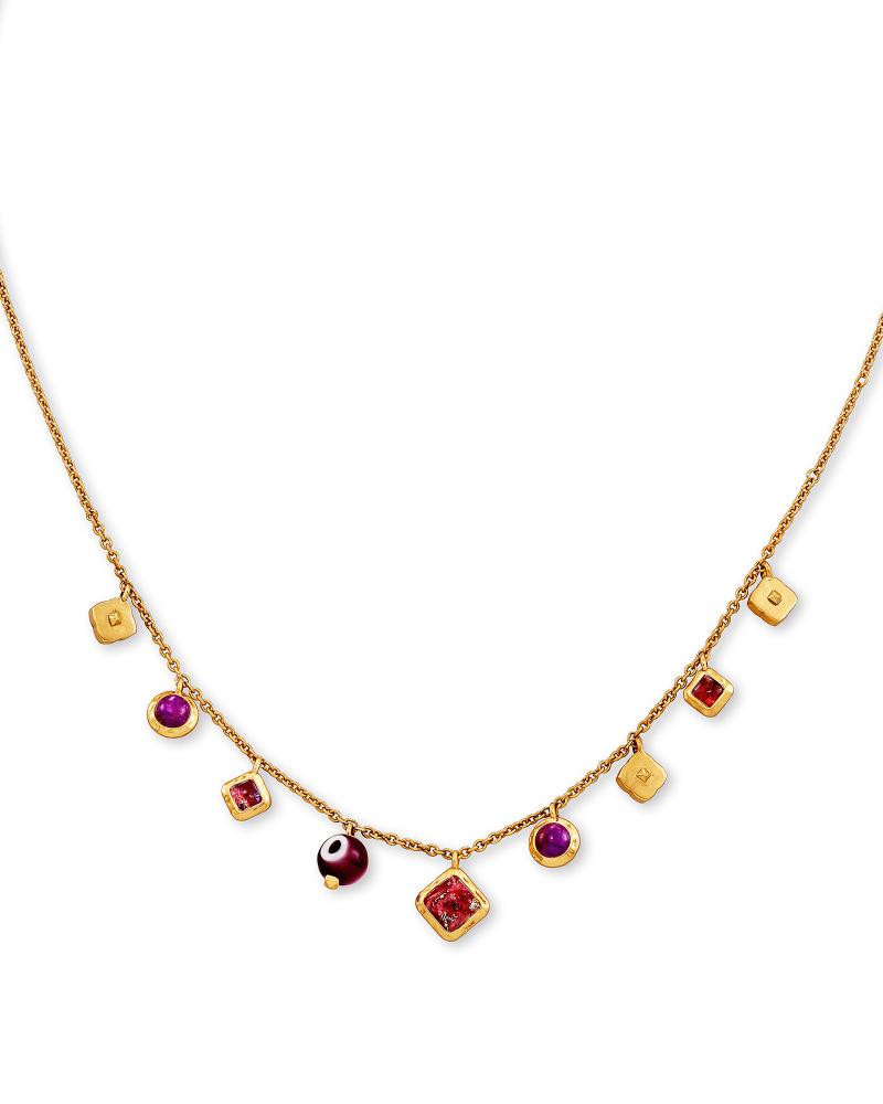 Gemma Vintage Gold Strand Necklace in Plum Mix