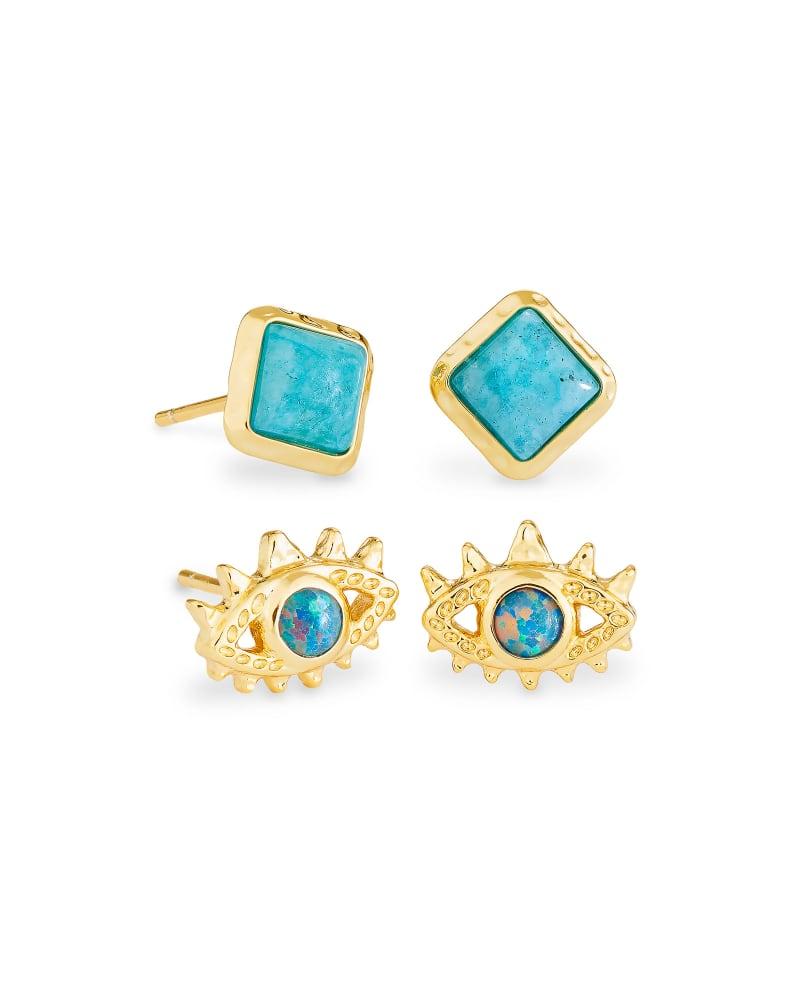 Gemma Gold Stud Earrings Set of 2 in Teal Labradorite