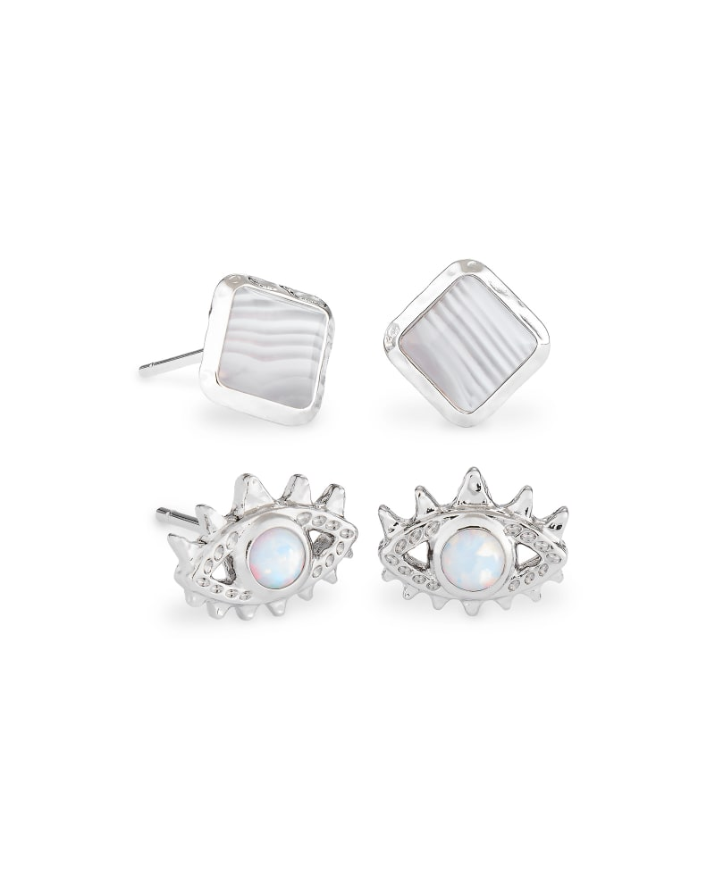 Gemma Silver Stud Earrings Set of 2 in Gray Banded Agate