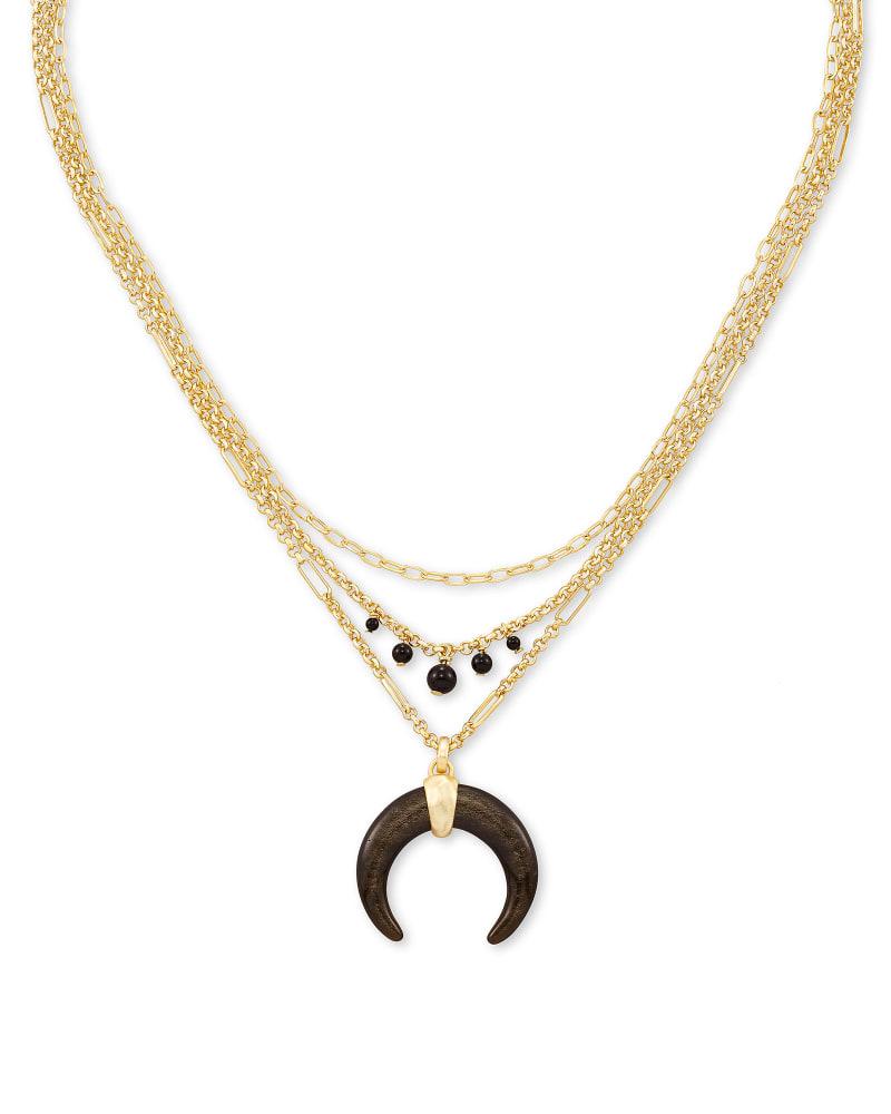 Gemma Gold Triple Strand Necklace in Golden Obsidian