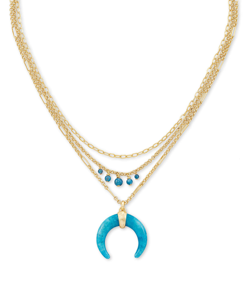 Gemma Gold Triple Strand Necklace in Teal Labradorite