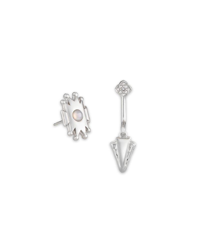 Shiva Silver Ear Jacket Earrings in Gray Banded Agate