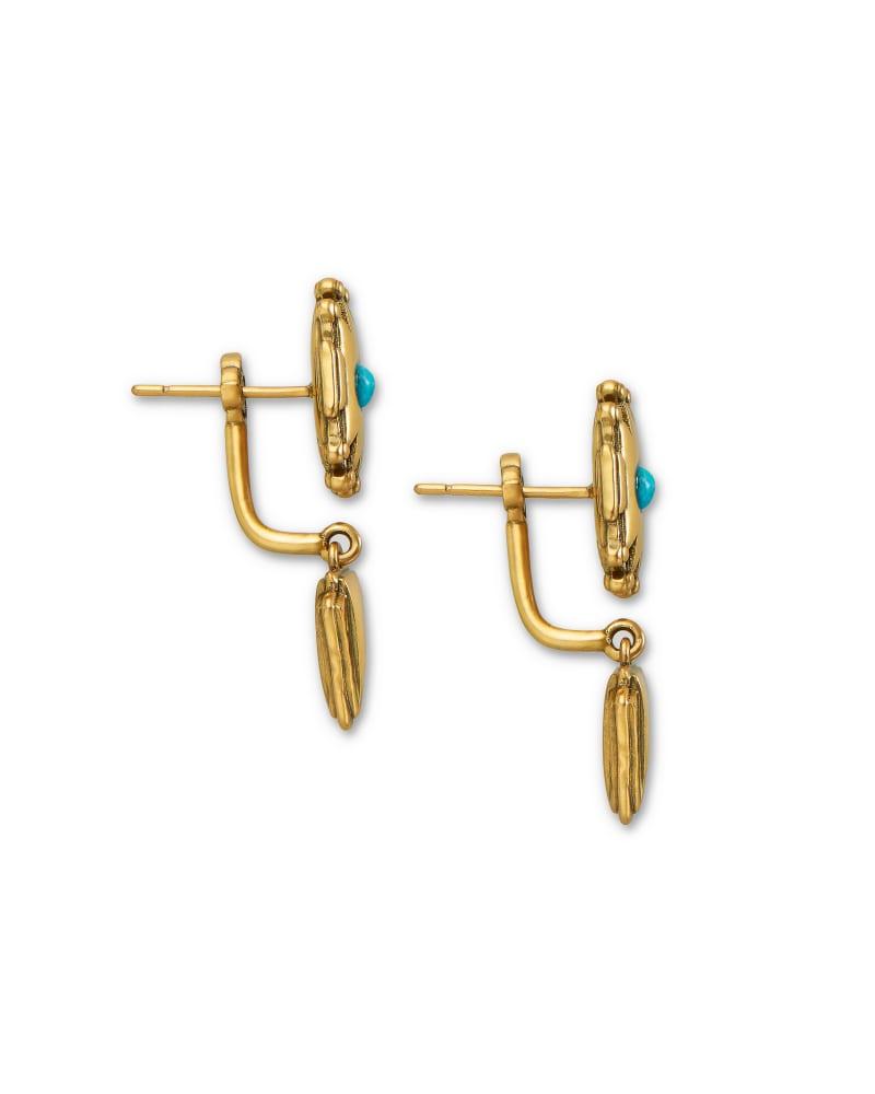 Shiva Vintage Gold Ear Jacket Earrings in Teal Howlite