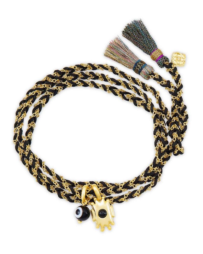 Shiva Gold Wrap Bracelet in Black Banded Agate