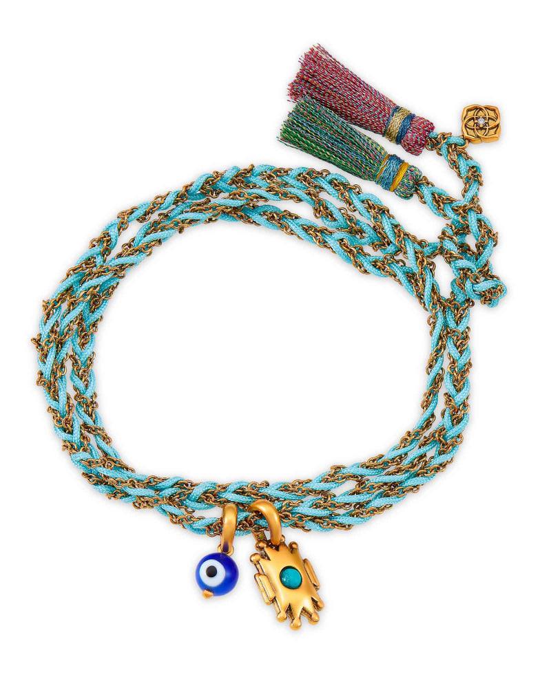 Shiva Vintage Gold Wrap Bracelet in Teal Howlite