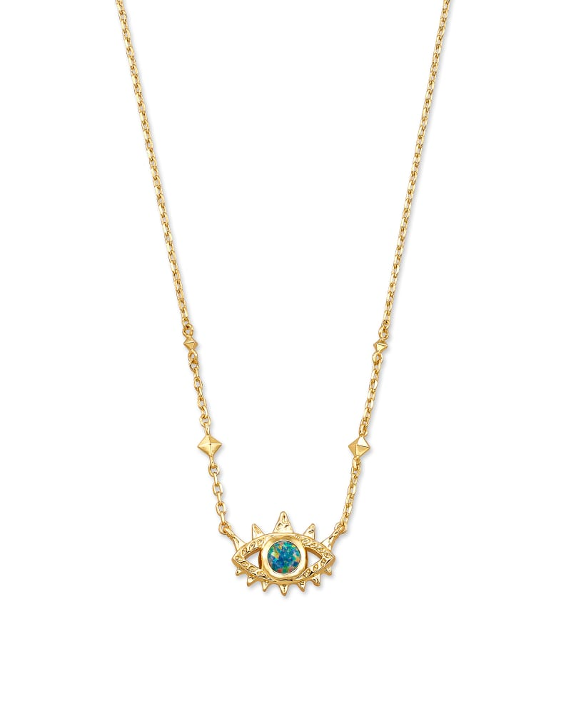 Gemma Gold Pendant Necklace in Royal Blue Green Kyocera Opal