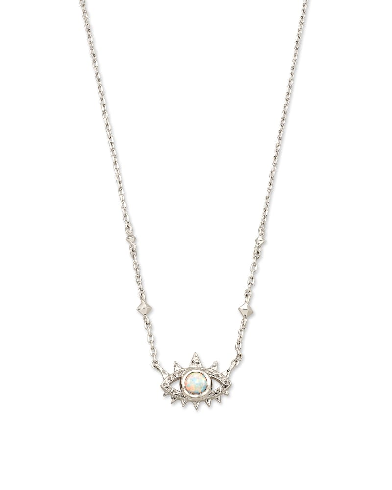 Gemma Silver Pendant Necklace in White Kyocera Opal