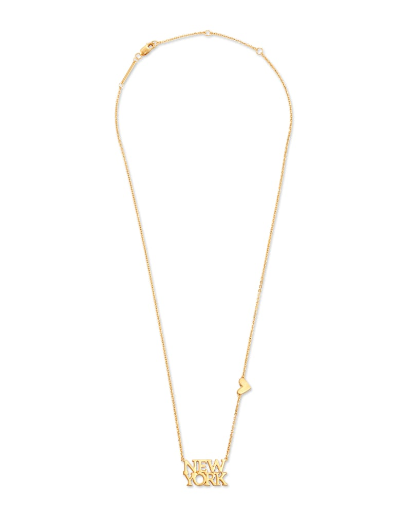 New York Pendant Necklace in 18k Yellow Gold Vermeil