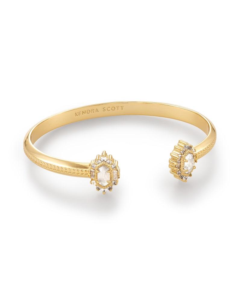 Kapri Gold Cuff Bracelet in Lustre Glass