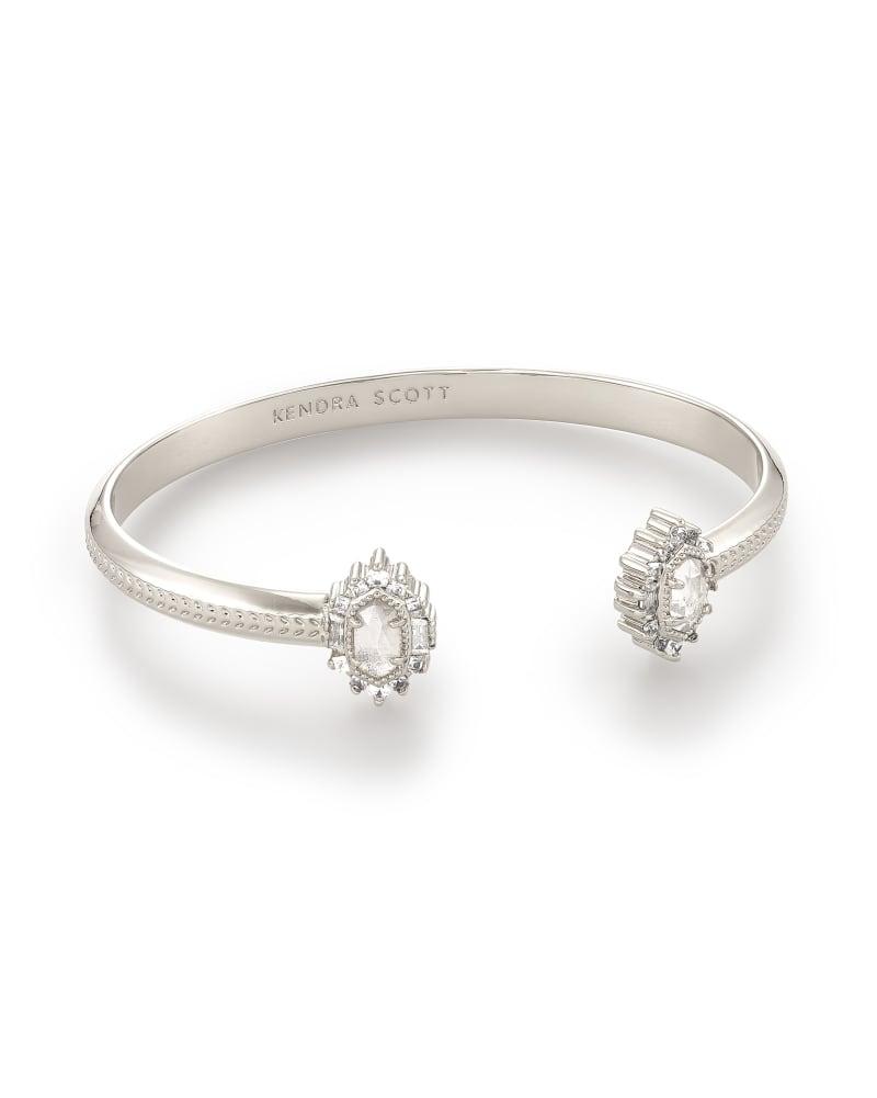 Kapri Silver Cuff Bracelet in Lustre Glass