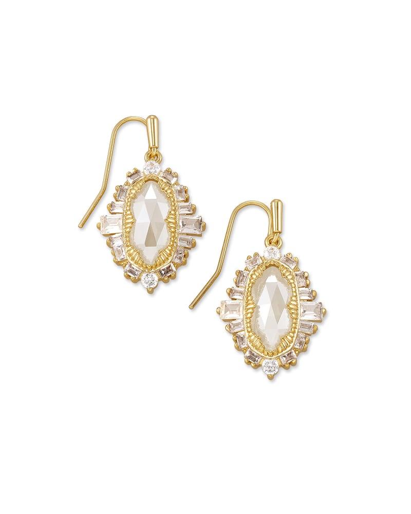 Kapri Gold Drop Earrings in Lustre Glass