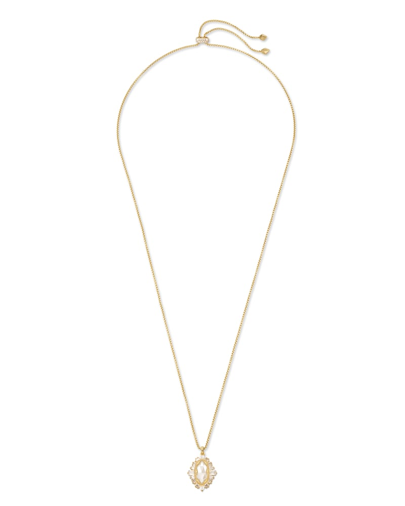 Kapri Gold Small Long Pendant Necklace in Lustre Glass