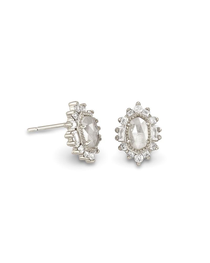 Kapri Silver Stud Earrings in Lustre Glass