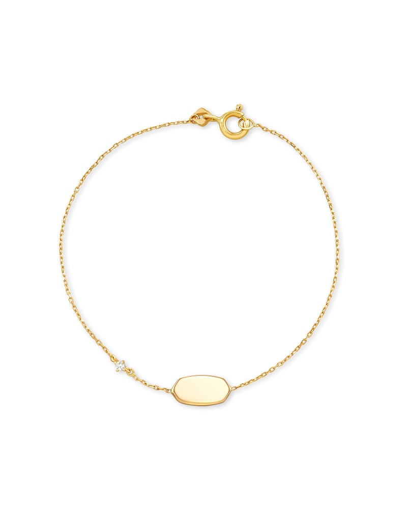 Fern 14k Yellow Gold Delicate Bracelet in White Diamond