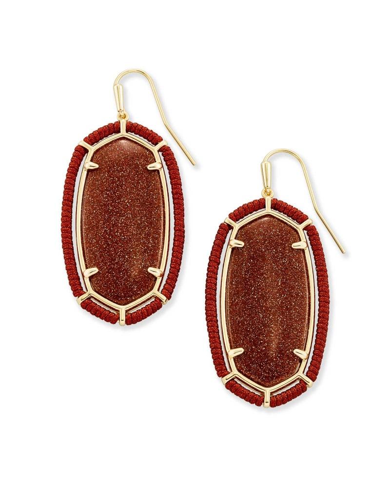 Threaded Elle Gold Drop Earrings in Goldstone | Kendra Scott