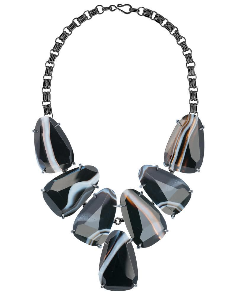 Harlow Statement Necklace in Black Banded Agate