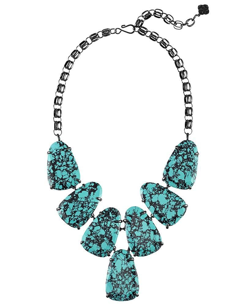 Harlow Statement Necklace in Variegated Teal Magnesite