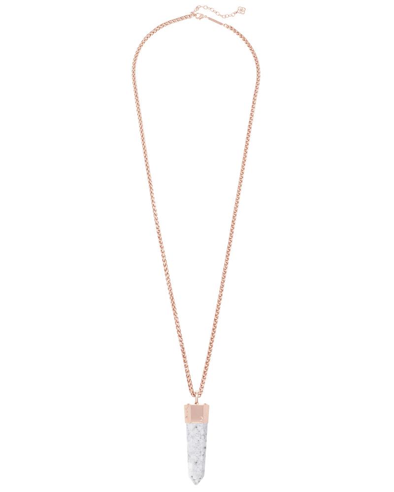 Jayce Long Necklace in Gray Granite