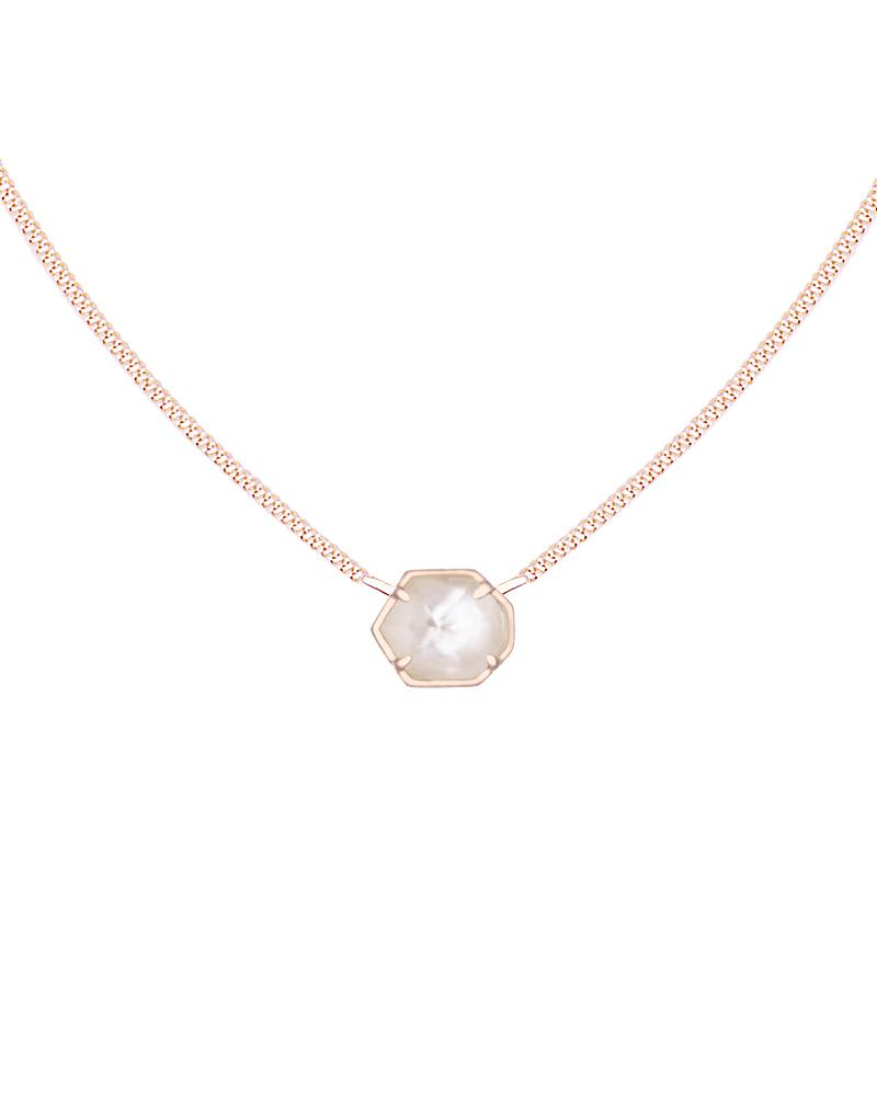 Mabel Rose Gold Necklace in Ivory Pearl