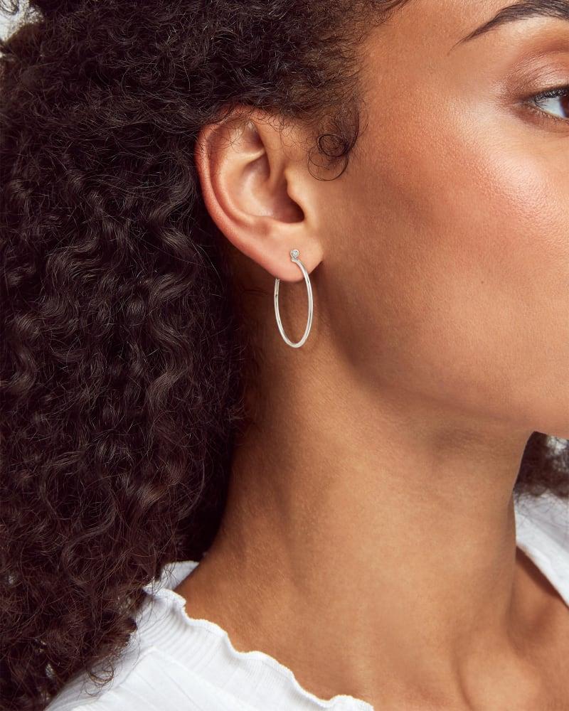 Audrey 14k White Gold Hoop Earrings in White Diamond